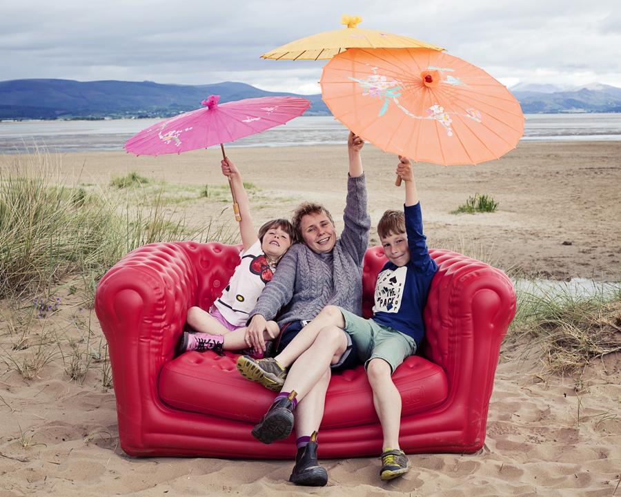 family portrait on the beach.