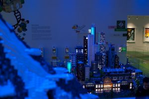 Lego House display of mountain and city
