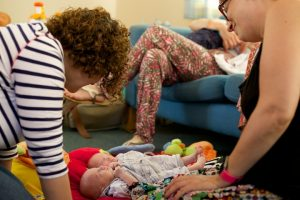 Mum's supporting each other at south cumbria breast-feeding support group.