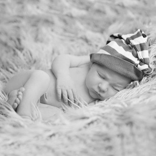 black and white newborn portrait.