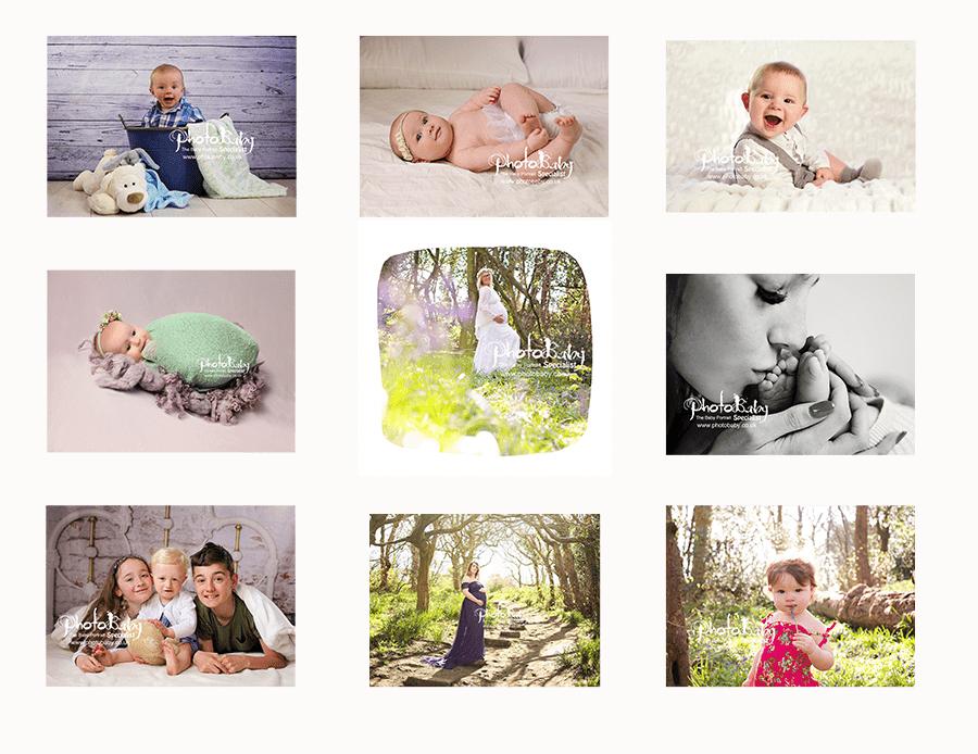 screenshot of nine baby portraits.